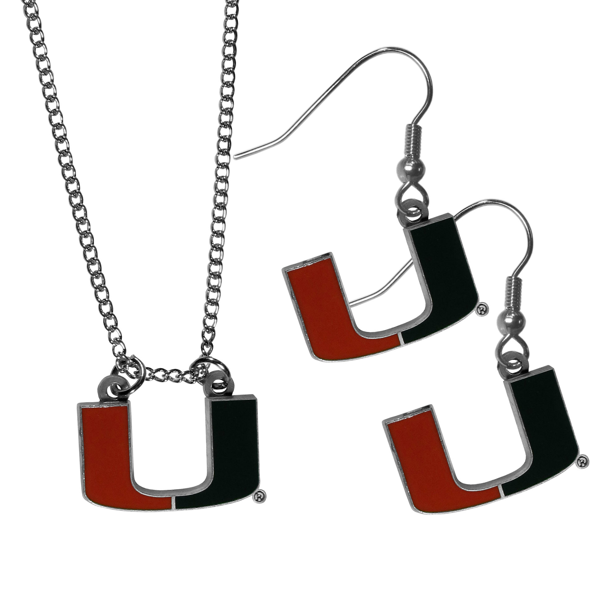 Miami Hurricanes Dangle Earrings and Chain Necklace Set - This classic jewelry set contains are most popular Miami Hurricanes dangle earrings and 22 inch chain necklace. The trendy, dangle earrings are lightweight and feature a fully cast metal team charm with enameled team colors. The matching necklace completes this fashion forward combo and is a spirited set that is perfect for game day but nice enough for everyday.