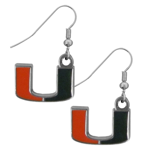Miami Hurricanes Chrome Dangle Earrings - These officially licensed college Miami Hurricanes Chrome Dangle Earrings are fully cast with exceptional detail and a hand enameled finish. The Miami Hurricanes Chrome Dangle Earrings have a high polish nickel free chrome finish and hypoallergenic fishhook posts. Thank you for shopping with CrazedOutSports.com