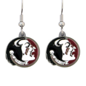 College Dangle Earrings - Florida St. Seminoles - Enameled zinc Florida State Seminoles college logo earrings. A great way to show off your Florida State Seminoles spirit! Check out our entire licensed sports  jewelry line! Thank you for shopping with CrazedOutSports.com