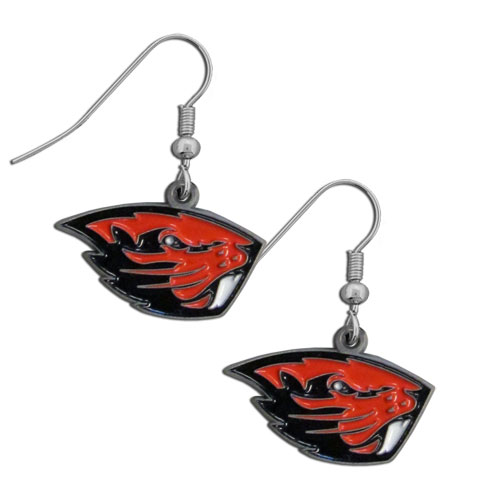 College Dangle Earrings - Oregon St. Beavers - Enameled zinc college logo earrings. A great way to show off your team spirit! Check out our entire licensed sports  jewelry line! Thank you for shopping with CrazedOutSports.com