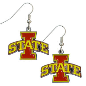 Iowa St. Dangle Earrings - Enameled zinc college logo earrings. A great way to show off your team spirit! Check out our entire licensed sports  jewelry line! Thank you for shopping with CrazedOutSports.com