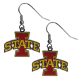 Iowa St. Cyclones Chrome Dangle Earrings - These officially licensed Iowa St. Cyclones chrome dangle earrings have fully cast Iowa St. Cyclones charms with exceptional detail and a hand enameled finish. The earrings have a high polish nickel free chrome finish and hypoallergenic fishhook posts. Thank you for shopping with CrazedOutSports.com