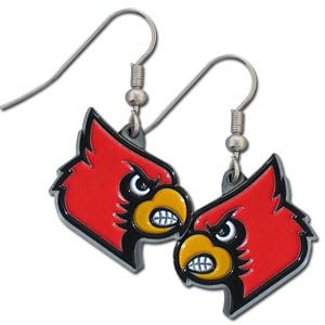 College Dangle Earrings - Louisville Cardinals - Enameled zinc college logo earrings. A great way to show off your team spirit! Check out our entire licensed sports  jewelry line! Thank you for shopping with CrazedOutSports.com
