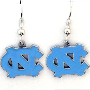 College Dangle Earrings - N. Carolina Tar Heels - Enameled zinc college logo earrings. A great way to show off your team spirit! Check out our entire licensed sports  jewelry line! Thank you for shopping with CrazedOutSports.com
