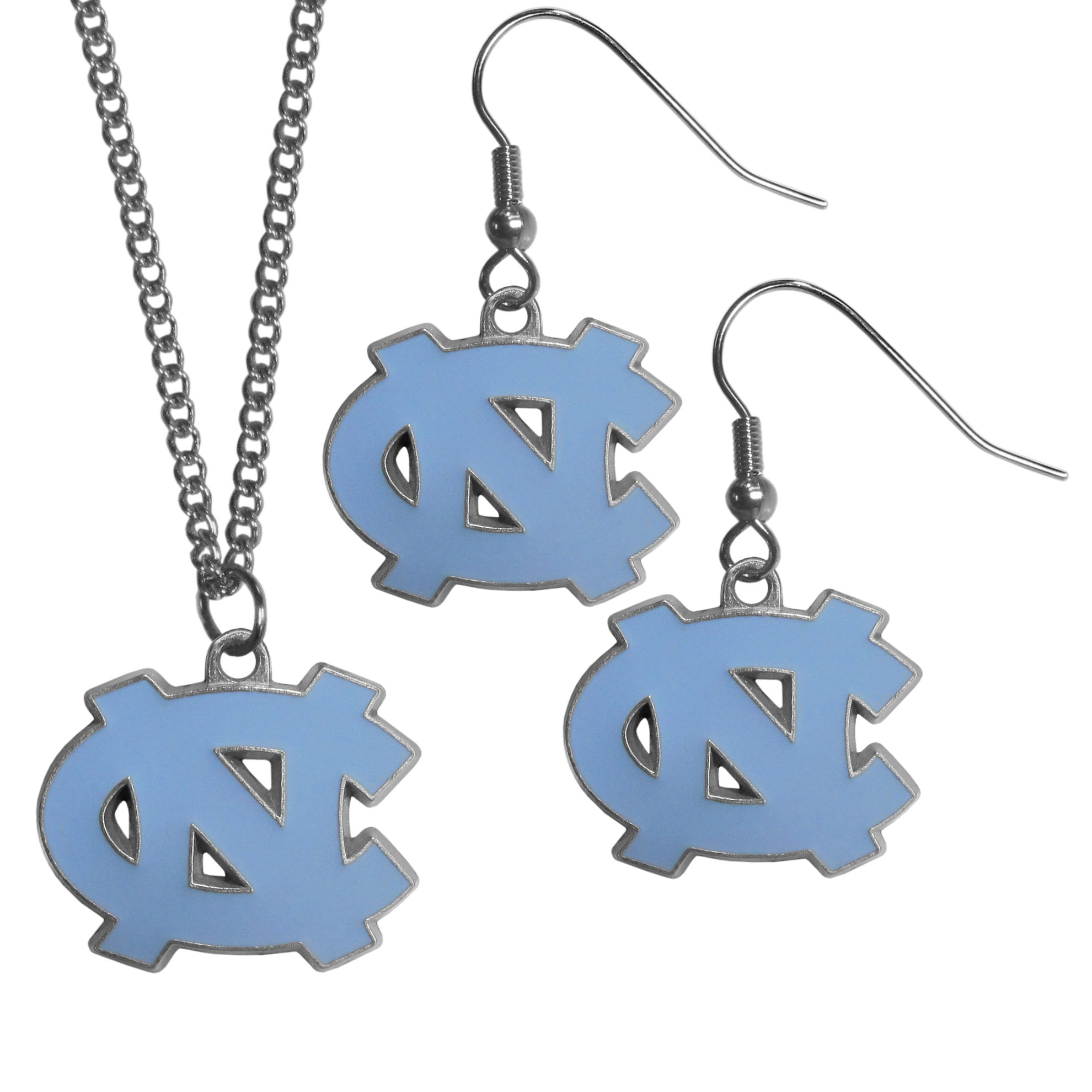 N. Carolina Tar Heels Dangle Earrings and Chain Necklace Set - This classic jewelry set contains are most popular N. Carolina Tar Heels dangle earrings and 22 inch chain necklace. The trendy, dangle earrings are lightweight and feature a fully cast metal team charm with enameled team colors. The matching necklace completes this fashion forward combo and is a spirited set that is perfect for game day but nice enough for everyday.