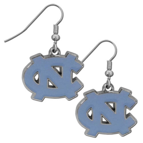 N. Carolina Chrome Dangle Earrings - Our officially licensed college dangle earrings are fully cast with exceptional detail and a hand enameled finish. The earrings have a high polish nickel free chrome finish and hypoallergenic fishhook posts. Thank you for shopping with CrazedOutSports.com