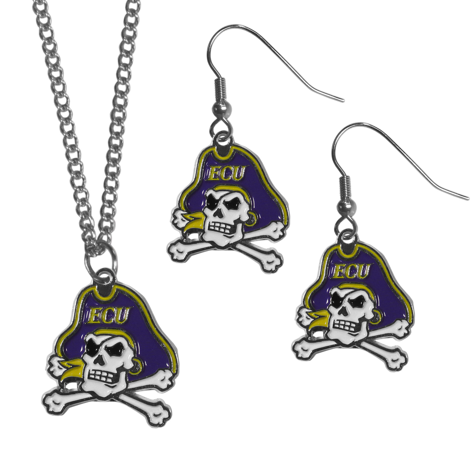 East Carolina Pirates Dangle Earrings and Chain Necklace Set - This classic jewelry set contains are most popular East Carolina Pirates dangle earrings and 22 inch chain necklace. The trendy, dangle earrings are lightweight and feature a fully cast metal team charm with enameled team colors. The matching necklace completes this fashion forward combo and is a spirited set that is perfect for game day but nice enough for everyday.