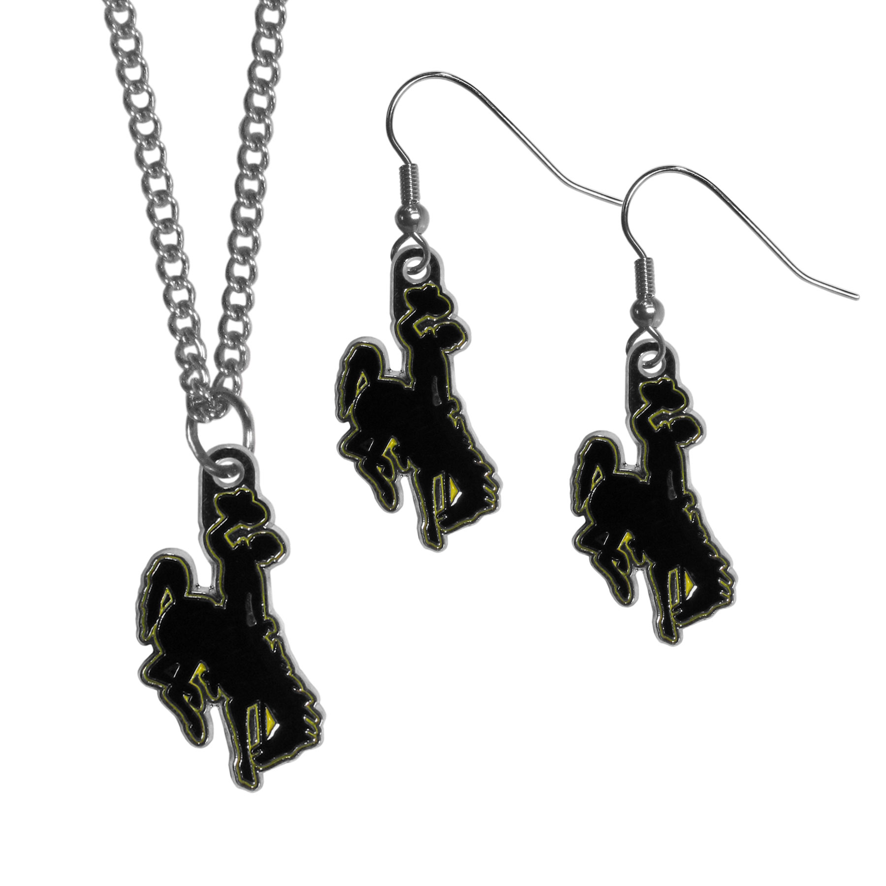 Wyoming Cowboys Dangle Earrings and Chain Necklace Set - This classic jewelry set contains are most popular Wyoming Cowboy dangle earrings and 22 inch chain necklace. The trendy, dangle earrings are lightweight and feature a fully cast metal team charm with enameled team colors. The matching necklace completes this fashion forward combo and is a spirited set that is perfect for game day but nice enough for everyday.