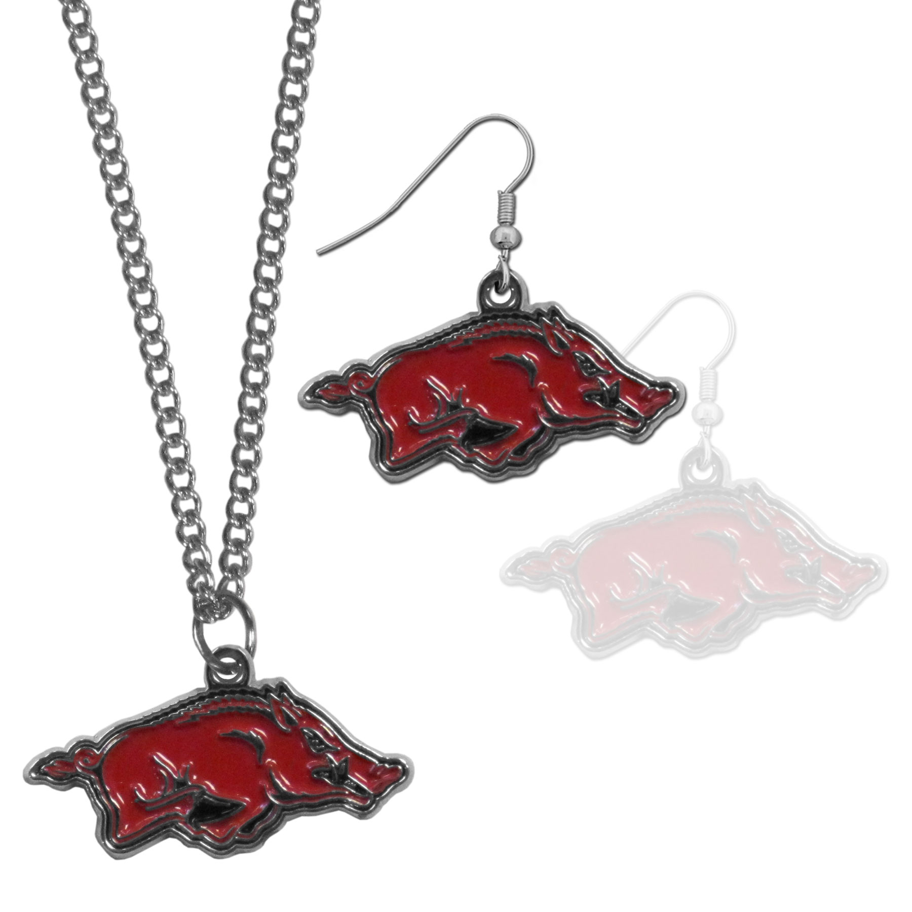 Arkansas Razorbacks Dangle Earrings and Chain Necklace Set - This classic jewelry set contains are most popular Arkansas Razorbacks dangle earrings and 22 inch chain necklace. The trendy, dangle earrings are lightweight and feature a fully cast metal team charm with enameled team colors. The matching necklace completes this fashion forward combo and is a spirited set that is perfect for game day but nice enough for everyday.