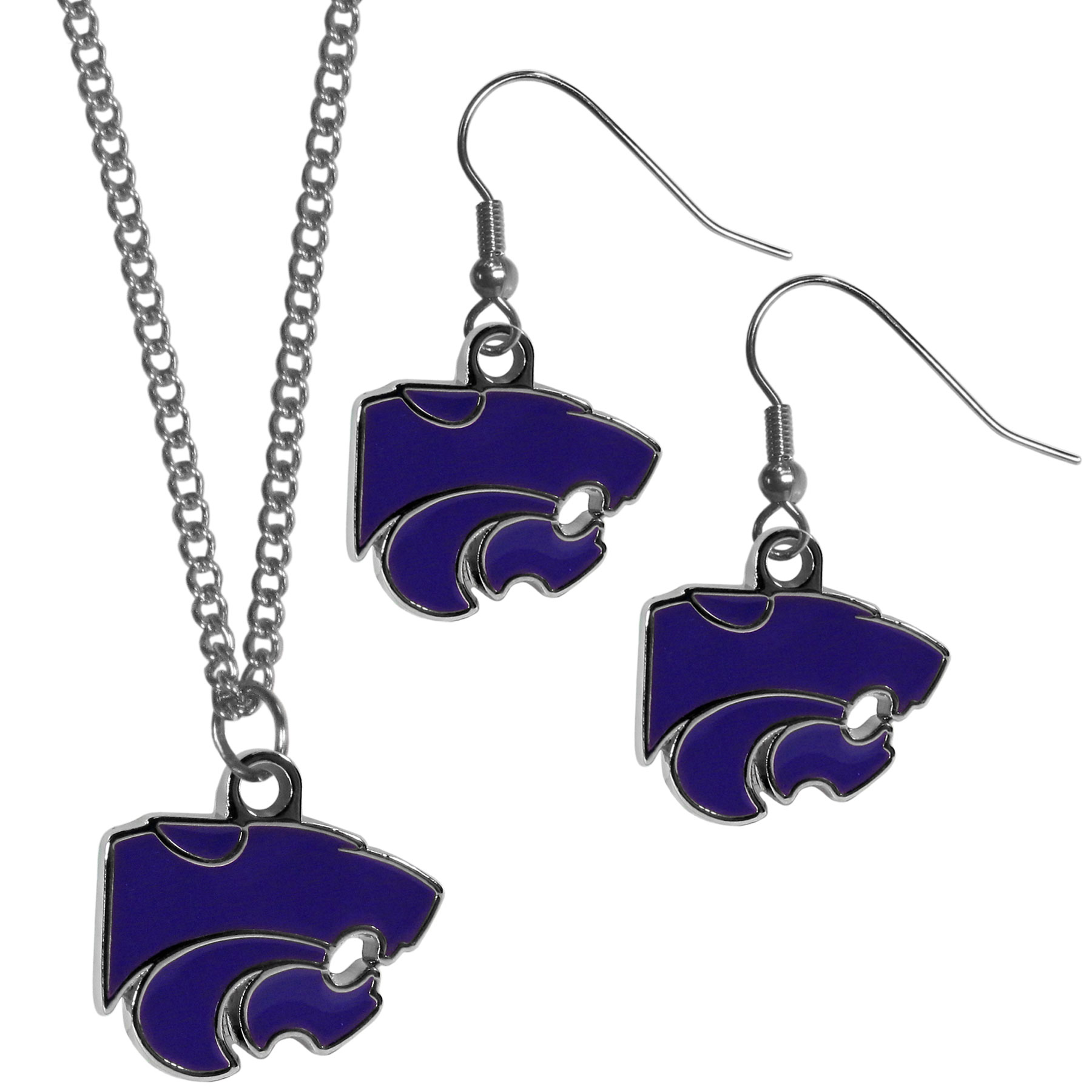 Kansas St. Wildcats Dangle Earrings and Chain Necklace Set - This classic jewelry set contains are most popular Kansas St. Wildcats dangle earrings and 22 inch chain necklace. The trendy, dangle earrings are lightweight and feature a fully cast metal team charm with enameled team colors. The matching necklace completes this fashion forward combo and is a spirited set that is perfect for game day but nice enough for everyday.