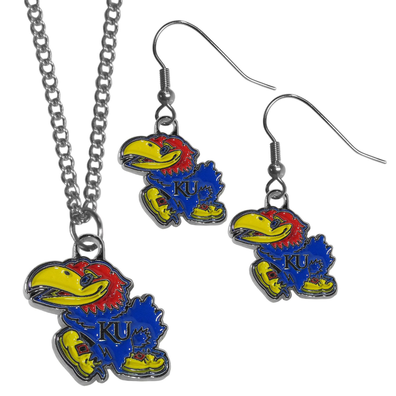 Kansas Jayhawks Dangle Earrings and Chain Necklace Set - This classic jewelry set contains are most popular Kansas Jayhawks dangle earrings and 22 inch chain necklace. The trendy, dangle earrings are lightweight and feature a fully cast metal team charm with enameled team colors. The matching necklace completes this fashion forward combo and is a spirited set that is perfect for game day but nice enough for everyday.