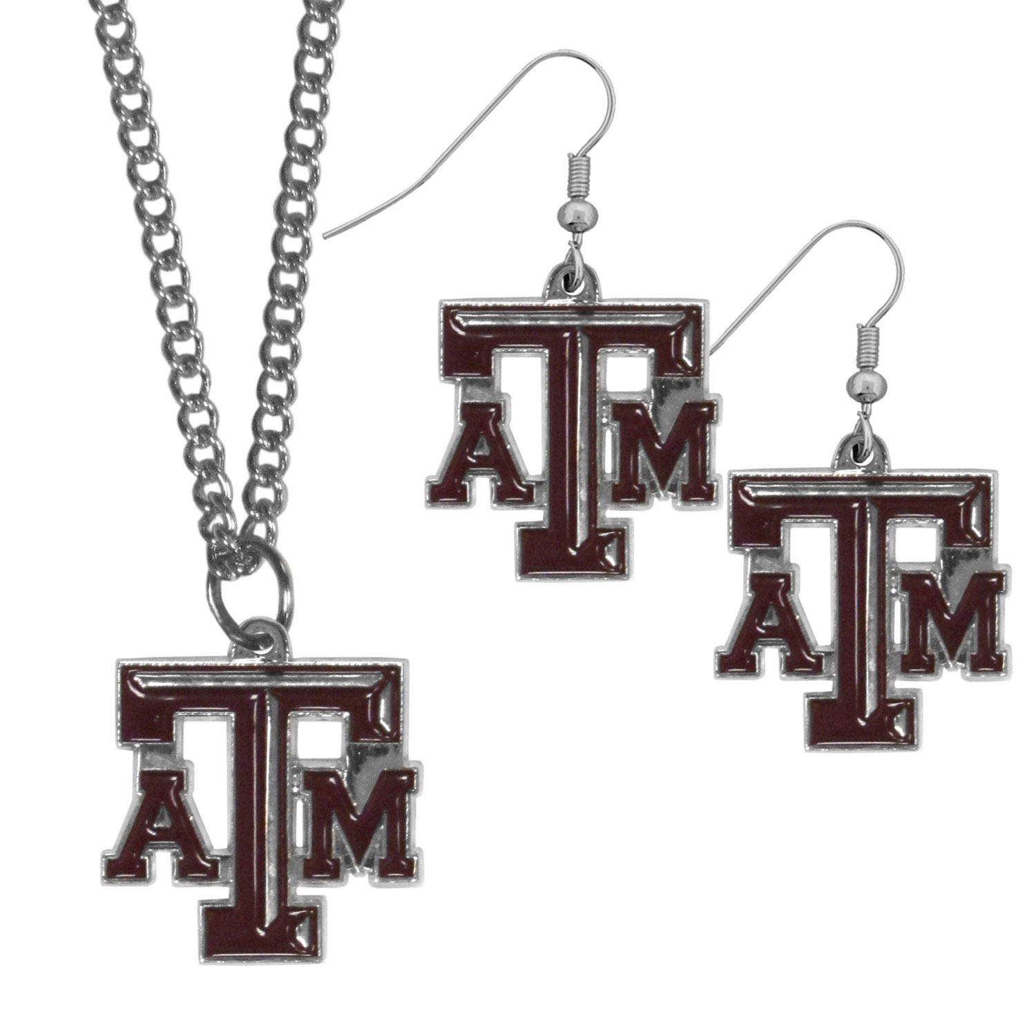 Texas A and M Aggies Dangle Earrings and Chain Necklace Set - This classic jewelry set contains are most popular Texas A & M Aggies dangle earrings and 22 inch chain necklace. The trendy, dangle earrings are lightweight and feature a fully cast metal team charm with enameled team colors. The matching necklace completes this fashion forward combo and is a spirited set that is perfect for game day but nice enough for everyday.