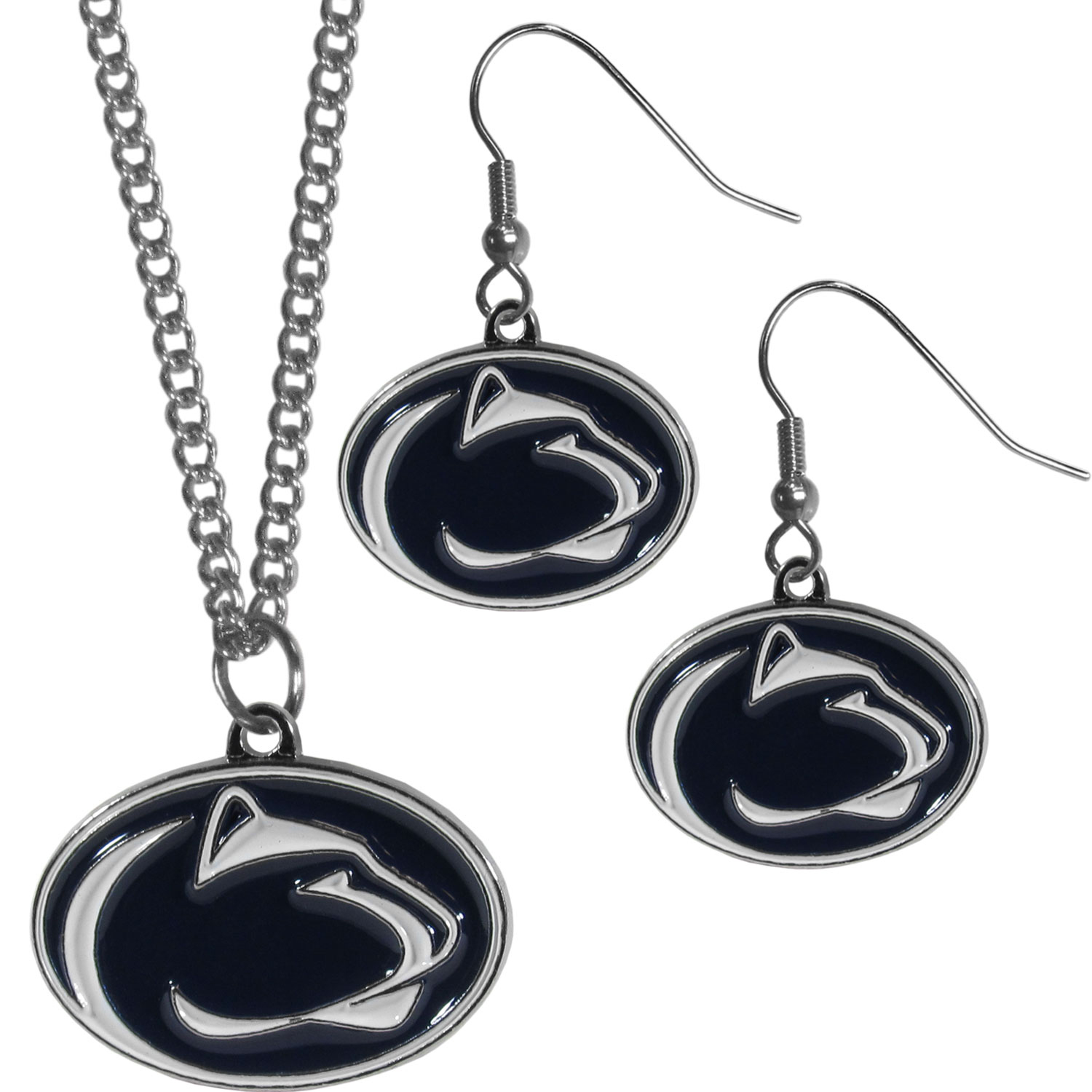 Penn St. Nittany Lions Dangle Earrings and Chain Necklace Set - This classic jewelry set contains are most popular Penn St. Nittany Lions dangle earrings and 22 inch chain necklace. The trendy, dangle earrings are lightweight and feature a fully cast metal team charm with enameled team colors. The matching necklace completes this fashion forward combo and is a spirited set that is perfect for game day but nice enough for everyday.
