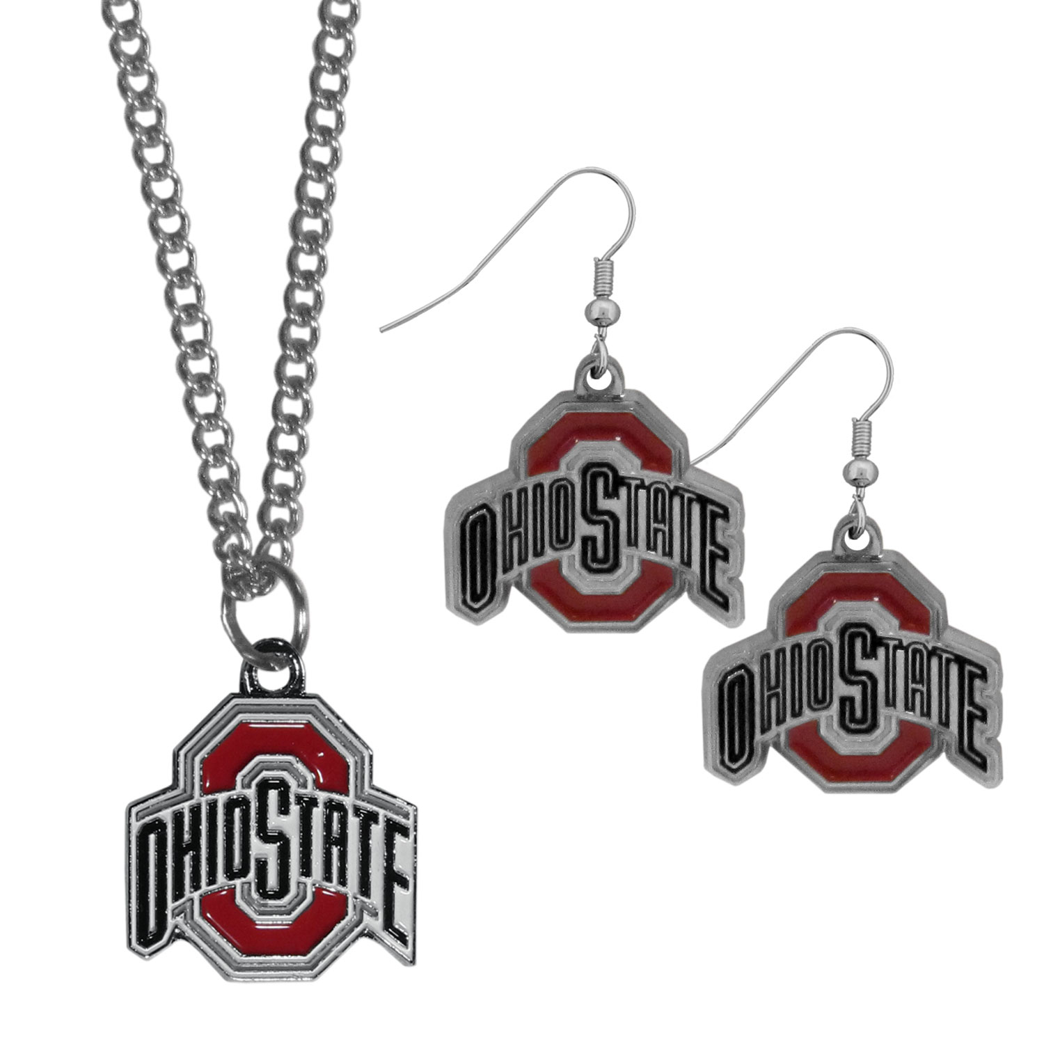Ohio St. Buckeyes Dangle Earrings and Chain Necklace Set - This classic jewelry set contains are most popular Ohio St. Buckeyes dangle earrings and 22 inch chain necklace. The trendy, dangle earrings are lightweight and feature a fully cast metal team charm with enameled team colors. The matching necklace completes this fashion forward combo and is a spirited set that is perfect for game day but nice enough for everyday.