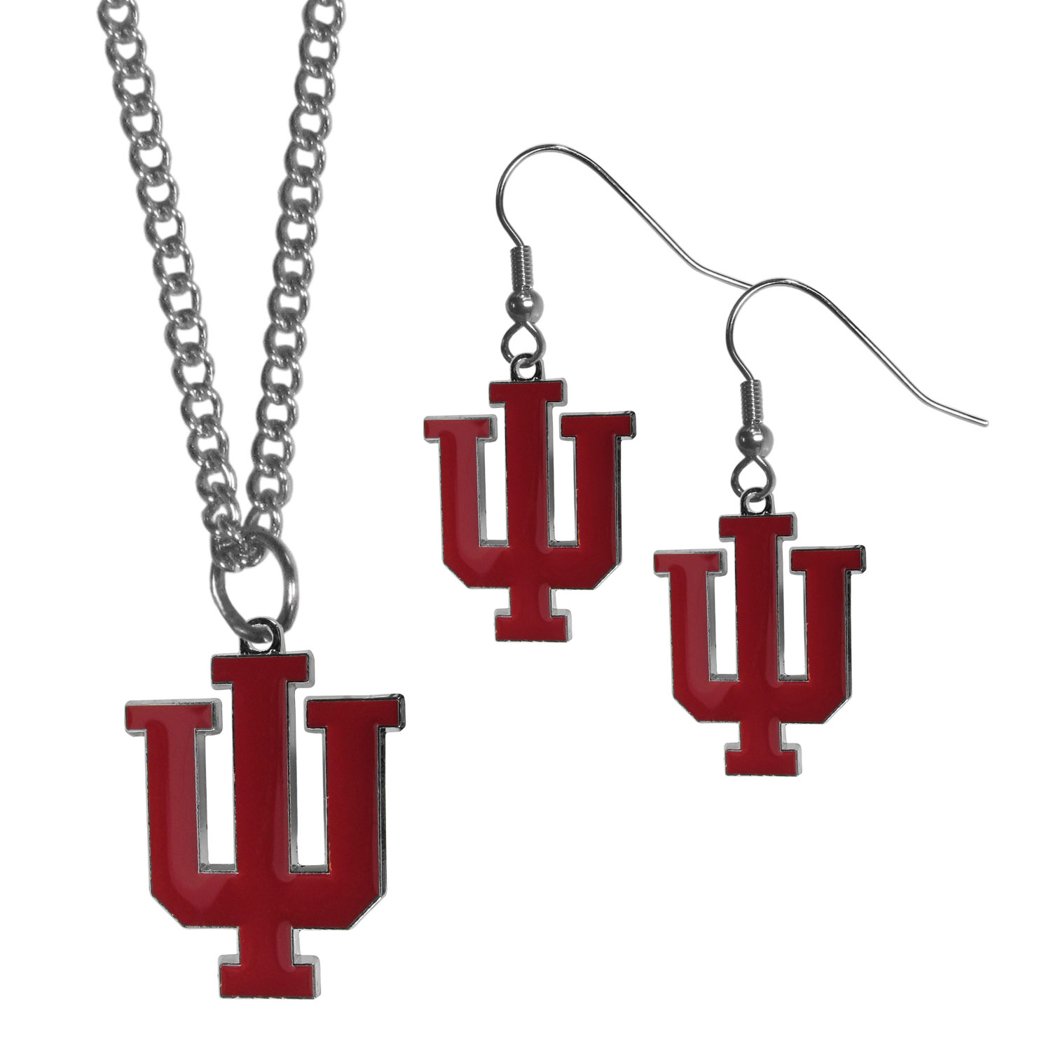 Indiana Hoosiers Dangle Earrings and Chain Necklace Set - This classic jewelry set contains are most popular Indiana Hoosiers dangle earrings and 22 inch chain necklace. The trendy, dangle earrings are lightweight and feature a fully cast metal team charm with enameled team colors. The matching necklace completes this fashion forward combo and is a spirited set that is perfect for game day but nice enough for everyday.