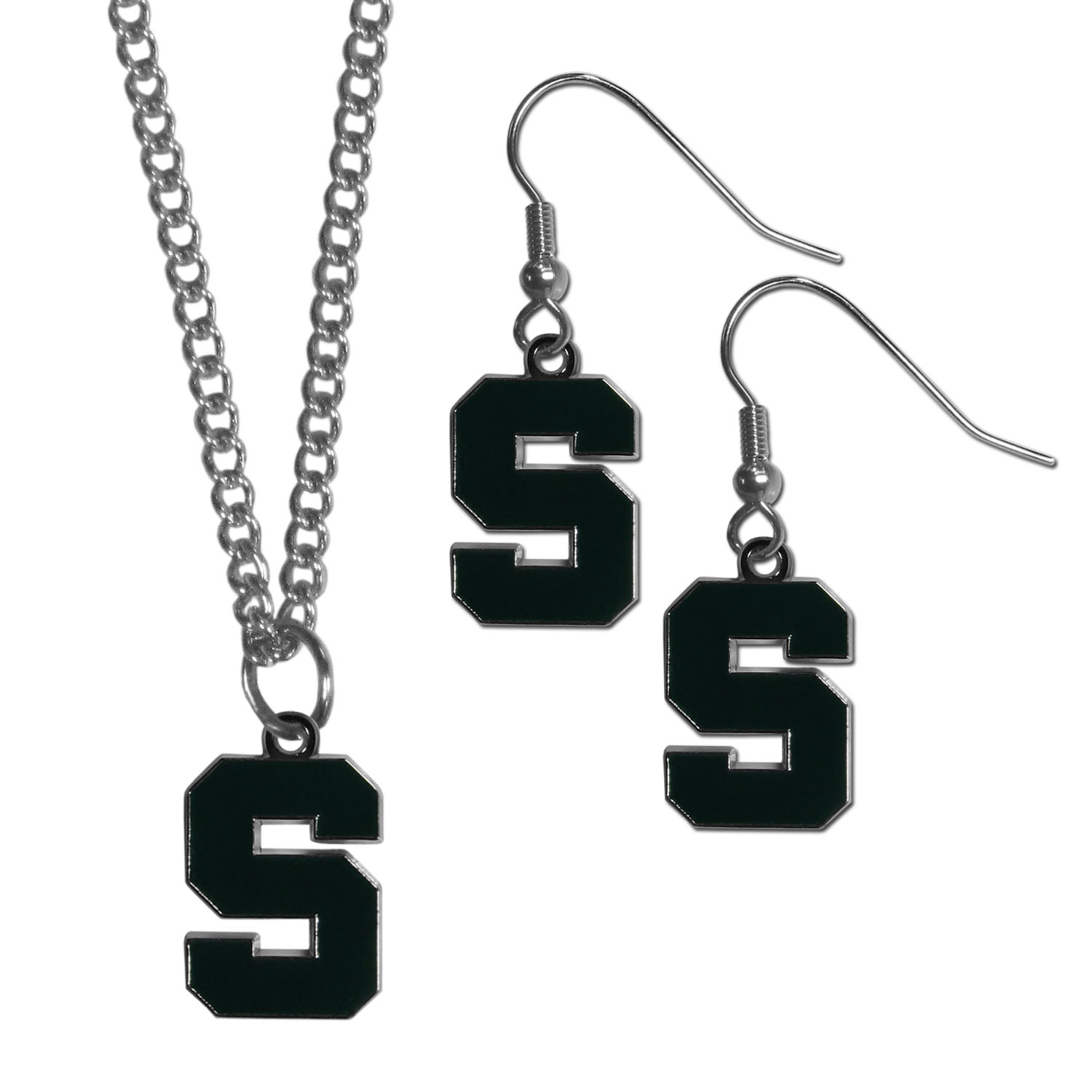Michigan St. Spartans Dangle Earrings and Chain Necklace Set - This classic jewelry set contains are most popular Michigan St. Spartans dangle earrings and 22 inch chain necklace. The trendy, dangle earrings are lightweight and feature a fully cast metal team charm with enameled team colors. The matching necklace completes this fashion forward combo and is a spirited set that is perfect for game day but nice enough for everyday.