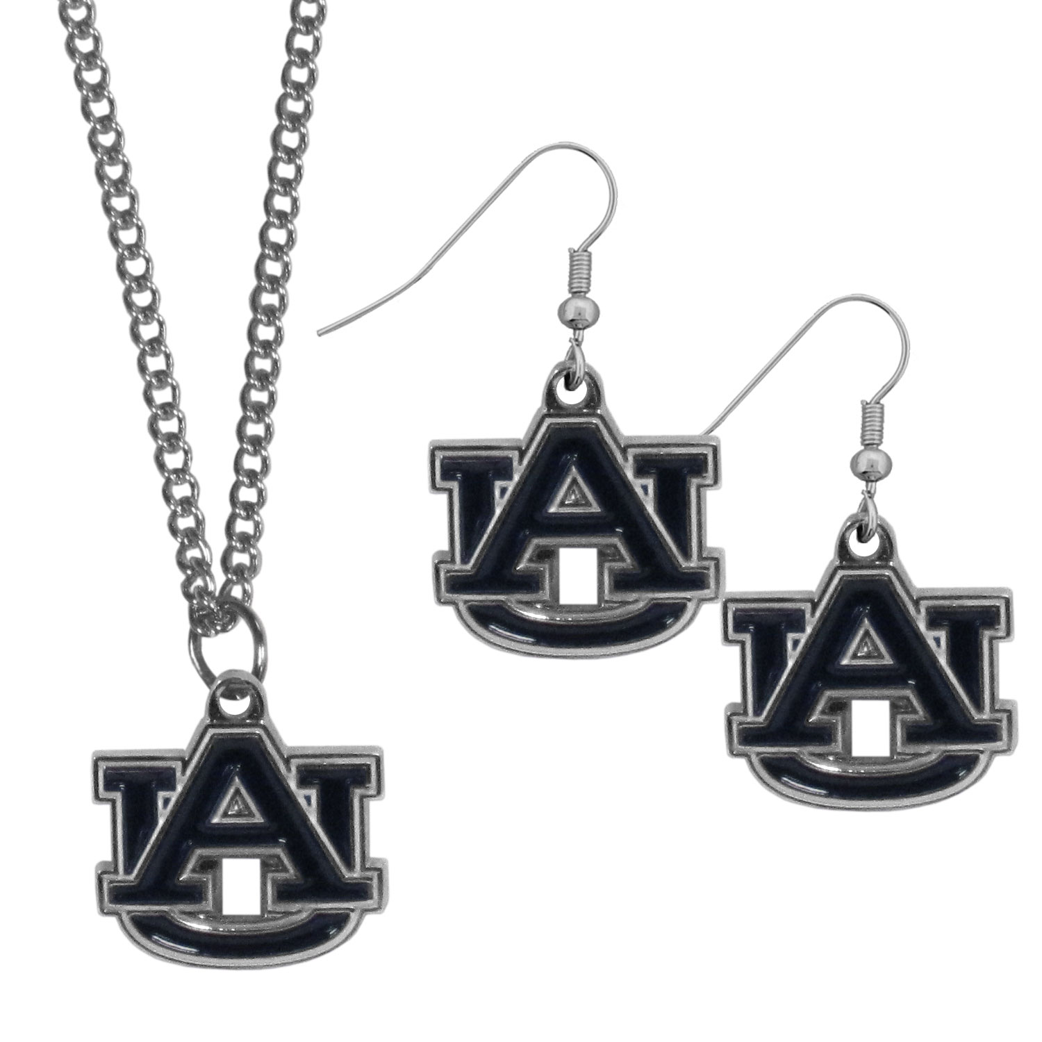 Auburn Tigers Dangle Earrings and Chain Necklace Set - This classic jewelry set contains are most popular Auburn Tigers dangle earrings and 22 inch chain necklace. The trendy, dangle earrings are lightweight and feature a fully cast metal team charm with enameled team colors. The matching necklace completes this fashion forward combo and is a spirited set that is perfect for game day but nice enough for everyday.