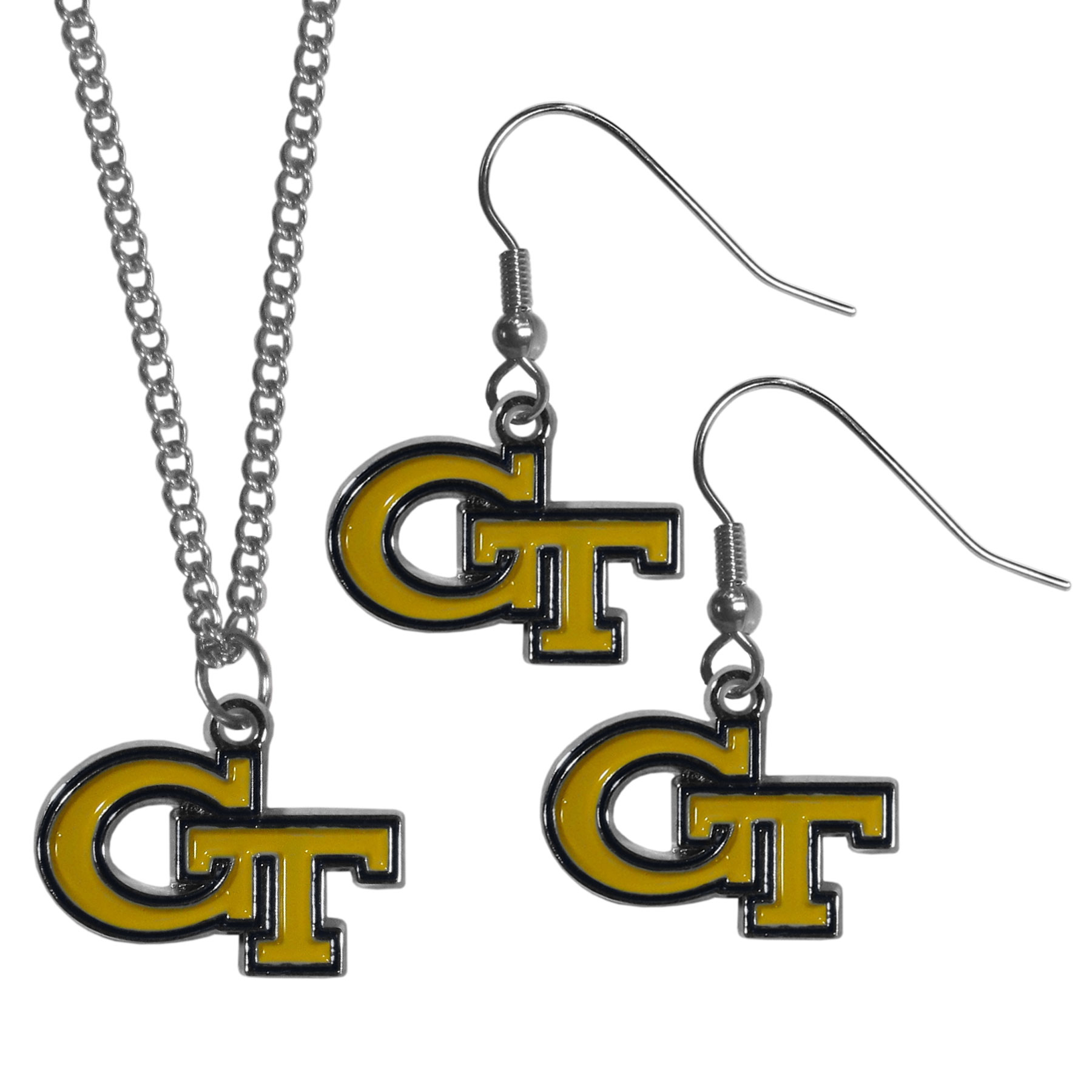 Georgia Tech Yellow Jackets Dangle Earrings and Chain Necklace Set - This classic jewelry set contains are most popular Georgia Tech Yellow Jackets dangle earrings and 22 inch chain necklace. The trendy, dangle earrings are lightweight and feature a fully cast metal team charm with enameled team colors. The matching necklace completes this fashion forward combo and is a spirited set that is perfect for game day but nice enough for everyday.