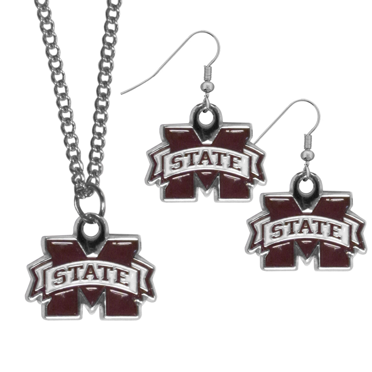 Mississippi St. Bulldogs Dangle Earrings and Chain Necklace Set - This classic jewelry set contains are most popular Mississippi St. Bulldogs dangle earrings and 22 inch chain necklace. The trendy, dangle earrings are lightweight and feature a fully cast metal team charm with enameled team colors. The matching necklace completes this fashion forward combo and is a spirited set that is perfect for game day but nice enough for everyday.