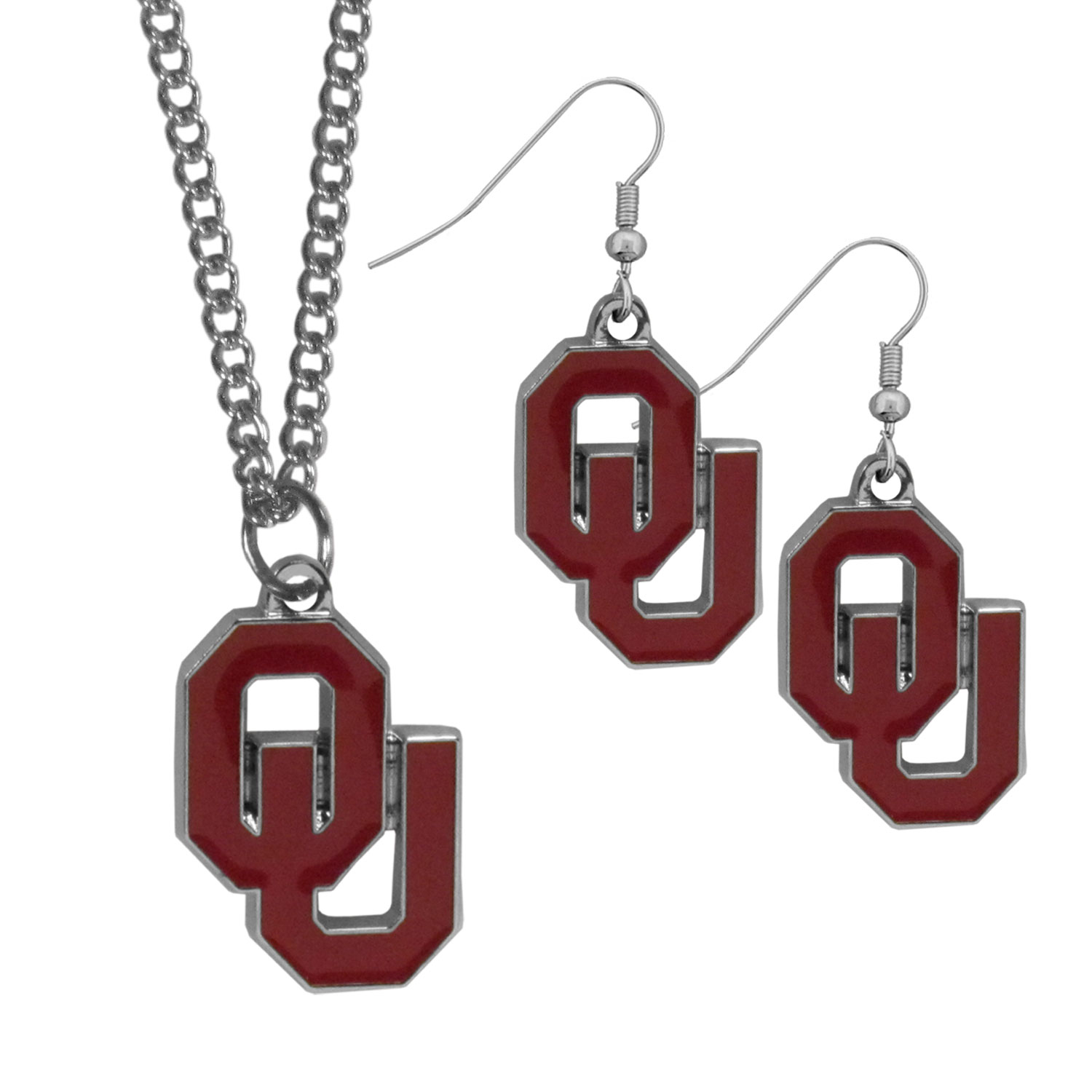Oklahoma Sooners Dangle Earrings and Chain Necklace Set - This classic jewelry set contains are most popular Oklahoma Sooners dangle earrings and 22 inch chain necklace. The trendy, dangle earrings are lightweight and feature a fully cast metal team charm with enameled team colors. The matching necklace completes this fashion forward combo and is a spirited set that is perfect for game day but nice enough for everyday.