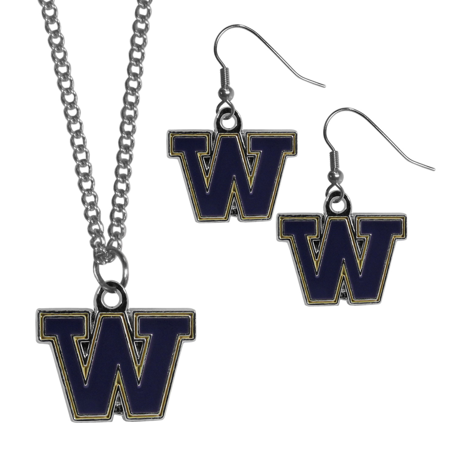 Washington Huskies Dangle Earrings and Chain Necklace Set - This classic jewelry set contains are most popular Washington Huskies dangle earrings and 22 inch chain necklace. The trendy, dangle earrings are lightweight and feature a fully cast metal team charm with enameled team colors. The matching necklace completes this fashion forward combo and is a spirited set that is perfect for game day but nice enough for everyday.