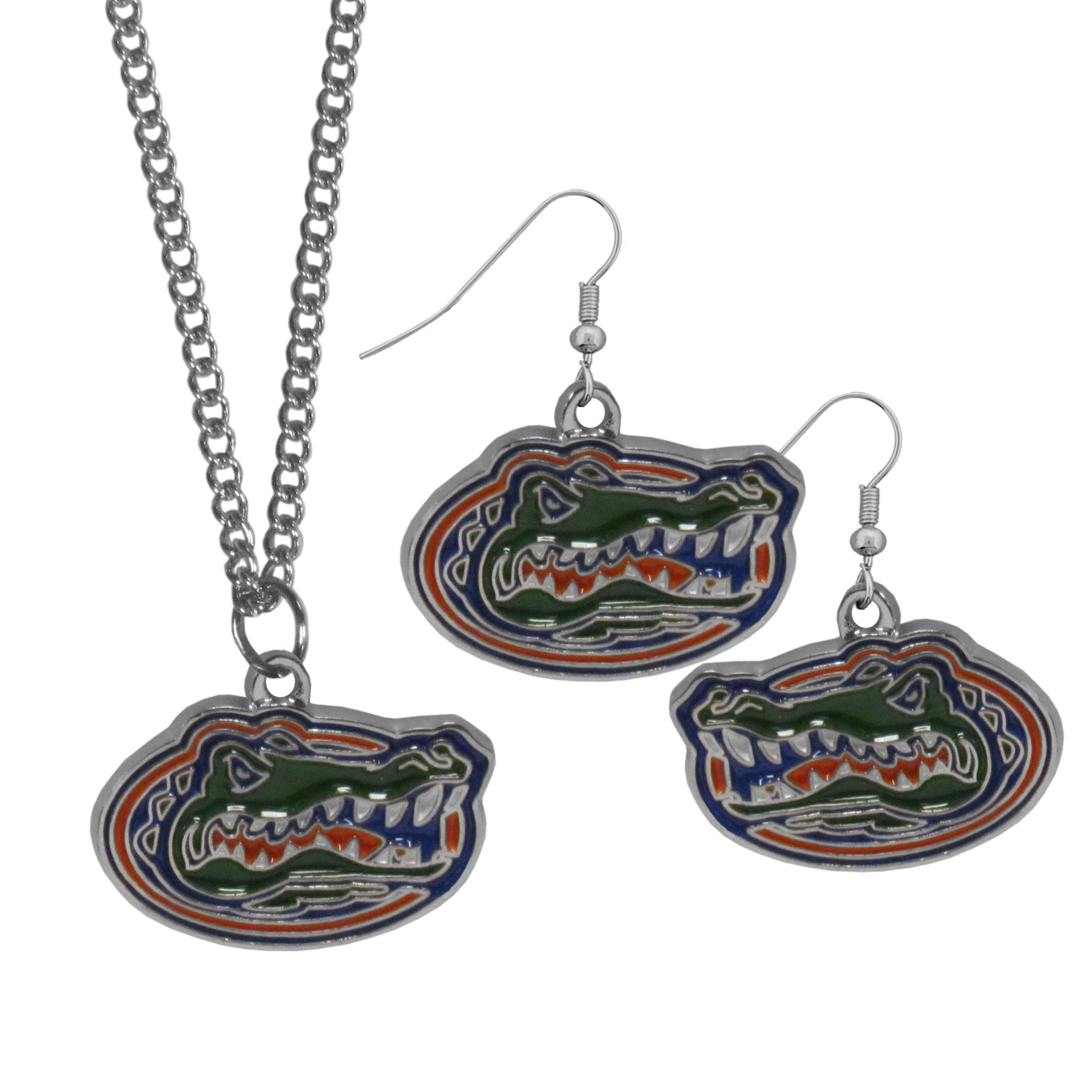Florida Gators Dangle Earrings and Chain Necklace Set - This classic jewelry set contains are most popular Florida Gators dangle earrings and 22 inch chain necklace. The trendy, dangle earrings are lightweight and feature a fully cast metal team charm with enameled team colors. The matching necklace completes this fashion forward combo and is a spirited set that is perfect for game day but nice enough for everyday.