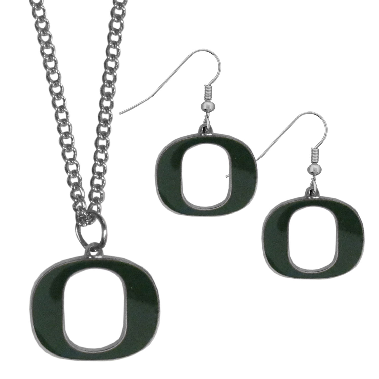 Oregon Ducks Dangle Earrings and Chain Necklace Set - This classic jewelry set contains are most popular Oregon Ducks dangle earrings and 22 inch chain necklace. The trendy, dangle earrings are lightweight and feature a fully cast metal team charm with enameled team colors. The matching necklace completes this fashion forward combo and is a spirited set that is perfect for game day but nice enough for everyday.
