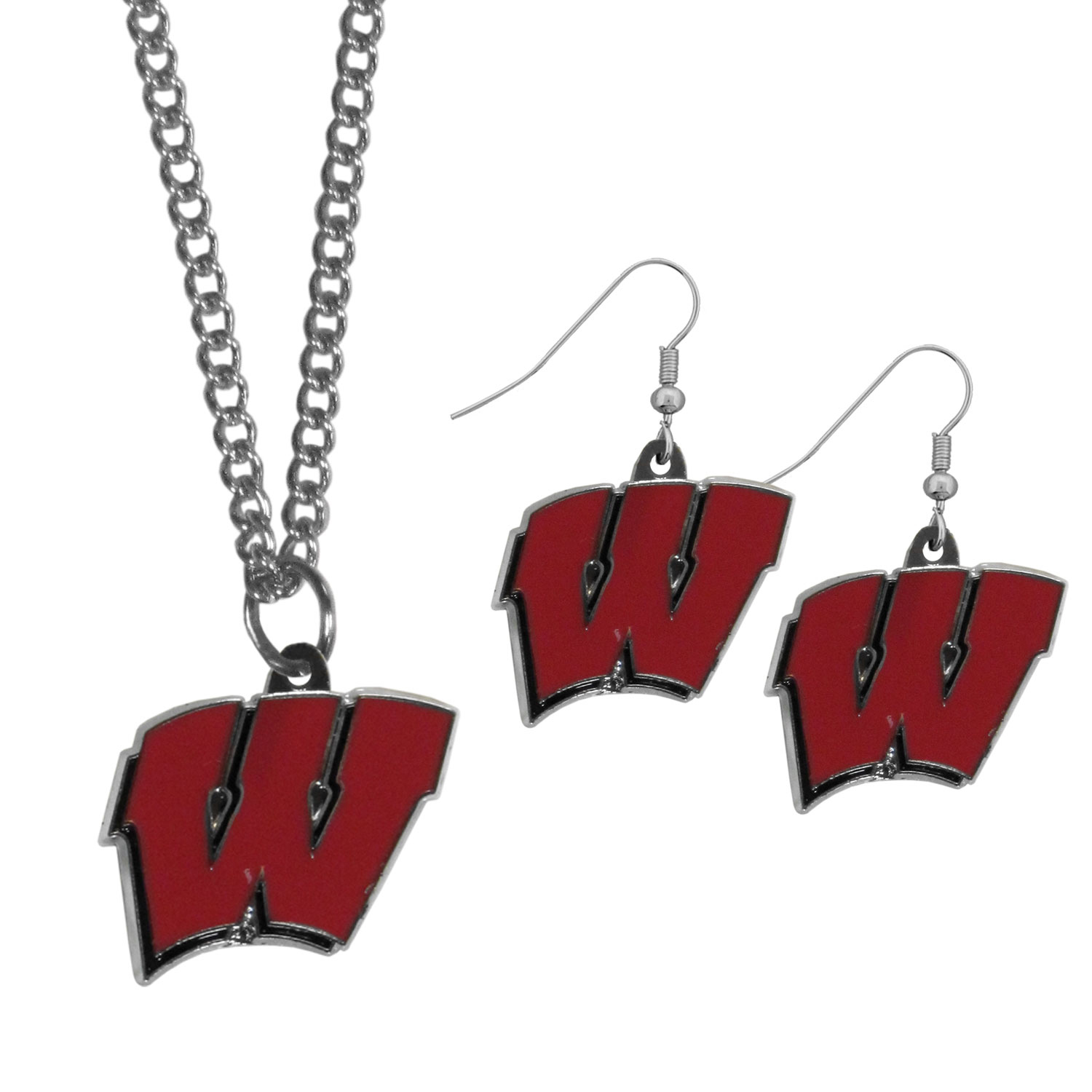 Wisconsin Badgers Dangle Earrings and Chain Necklace Set - This classic jewelry set contains are most popular Wisconsin Badgers dangle earrings and 22 inch chain necklace. The trendy, dangle earrings are lightweight and feature a fully cast metal team charm with enameled team colors. The matching necklace completes this fashion forward combo and is a spirited set that is perfect for game day but nice enough for everyday.