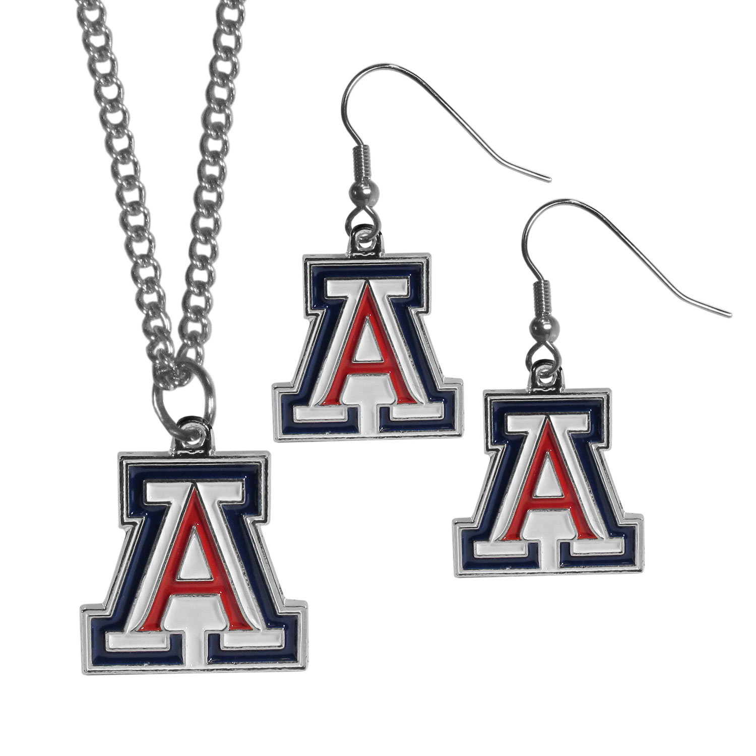 Arizona Wildcats Dangle Earrings and Chain Necklace Set - This classic jewelry set contains are most popular Arizona Wildcats dangle earrings and 22 inch chain necklace. The trendy, dangle earrings are lightweight and feature a fully cast metal team charm with enameled team colors. The matching necklace completes this fashion forward combo and is a spirited set that is perfect for game day but nice enough for everyday.