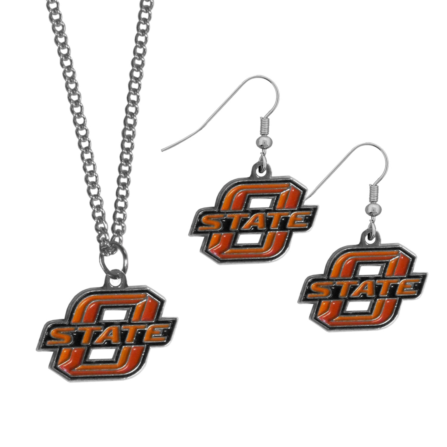 Oklahoma St. Cowboys Dangle Earrings and Chain Necklace Set - This classic jewelry set contains are most popular Oklahoma St. Cowboys dangle earrings and 22 inch chain necklace. The trendy, dangle earrings are lightweight and feature a fully cast metal team charm with enameled team colors. The matching necklace completes this fashion forward combo and is a spirited set that is perfect for game day but nice enough for everyday.