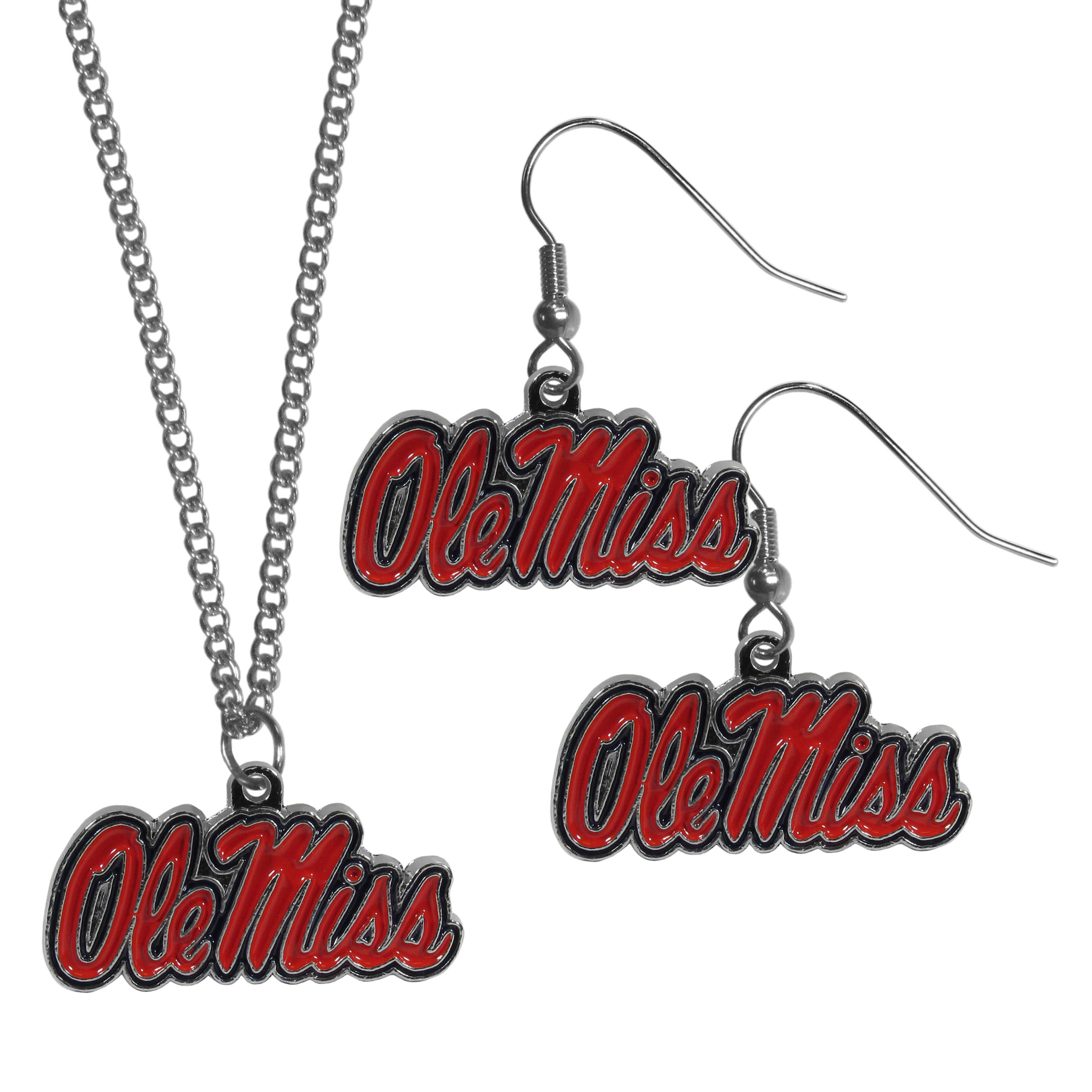 Mississippi Rebels Dangle Earrings and Chain Necklace Set - This classic jewelry set contains are most popular Mississippi Rebels dangle earrings and 22 inch chain necklace. The trendy, dangle earrings are lightweight and feature a fully cast metal team charm with enameled team colors. The matching necklace completes this fashion forward combo and is a spirited set that is perfect for game day but nice enough for everyday.
