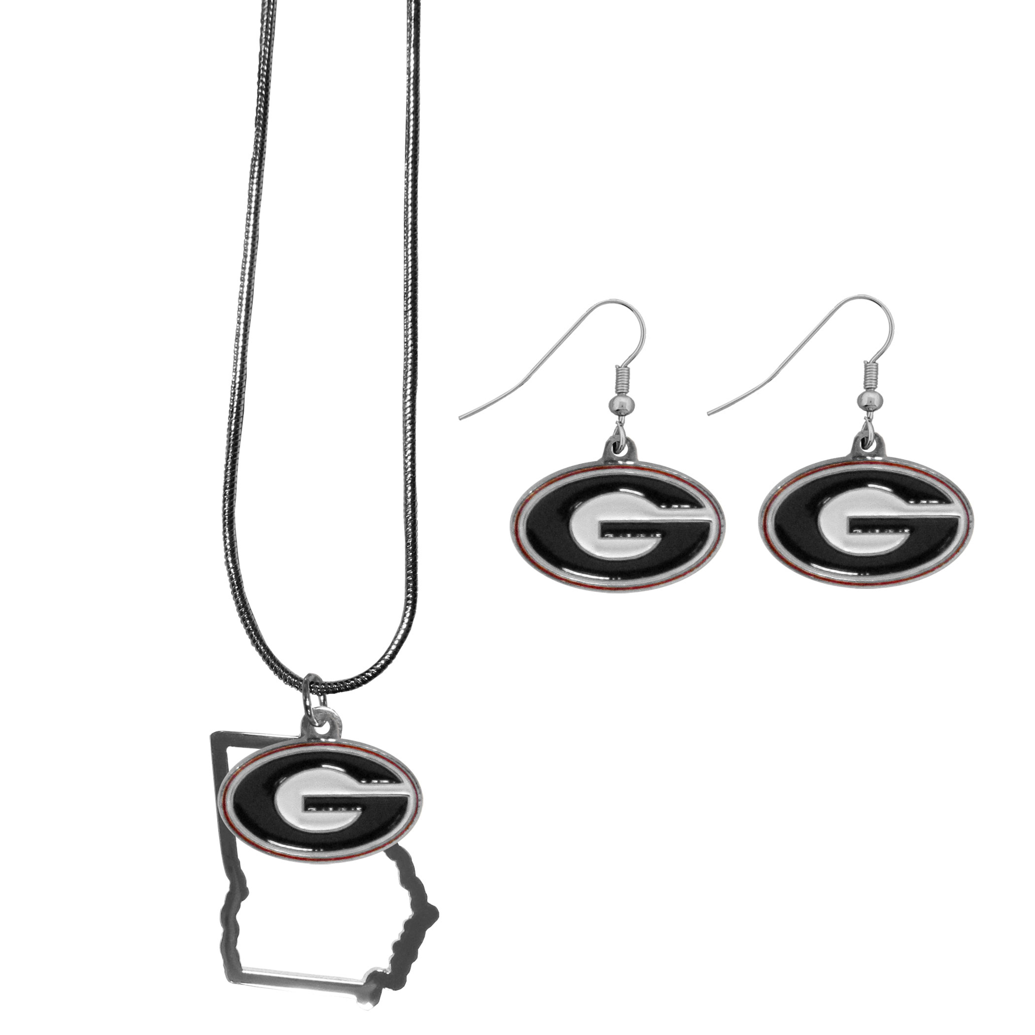 Georgia Bulldogs Dangle Earrings and State Necklace Set - Get in on the trend! State themes are a trend that just keeps getting more popular and this jewelry set takes the state style and give it a sporty twist with a Georgia Bulldogs necklace that features an Arizona state outline charm paired with a beautiful team charm and matching team charm dangle earrings. The earrings feature hypoallergenic fishhook posts that are nickel free.