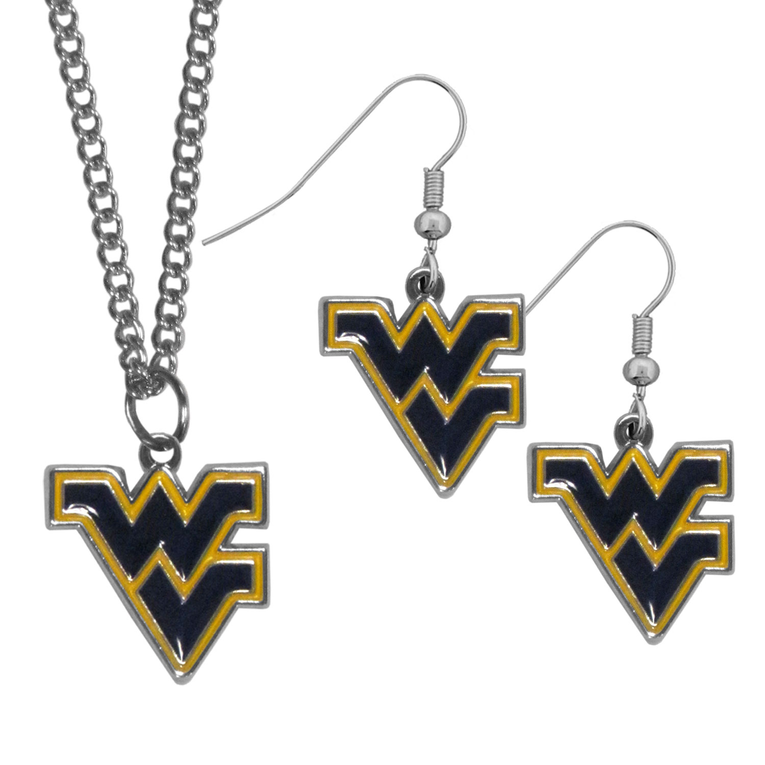 W. Virginia Mountaineers Dangle Earrings and Chain Necklace Set - This classic jewelry set contains are most popular W. Virginia Mountaineers dangle earrings and 22 inch chain necklace. The trendy, dangle earrings are lightweight and feature a fully cast metal team charm with enameled team colors. The matching necklace completes this fashion forward combo and is a spirited set that is perfect for game day but nice enough for everyday.