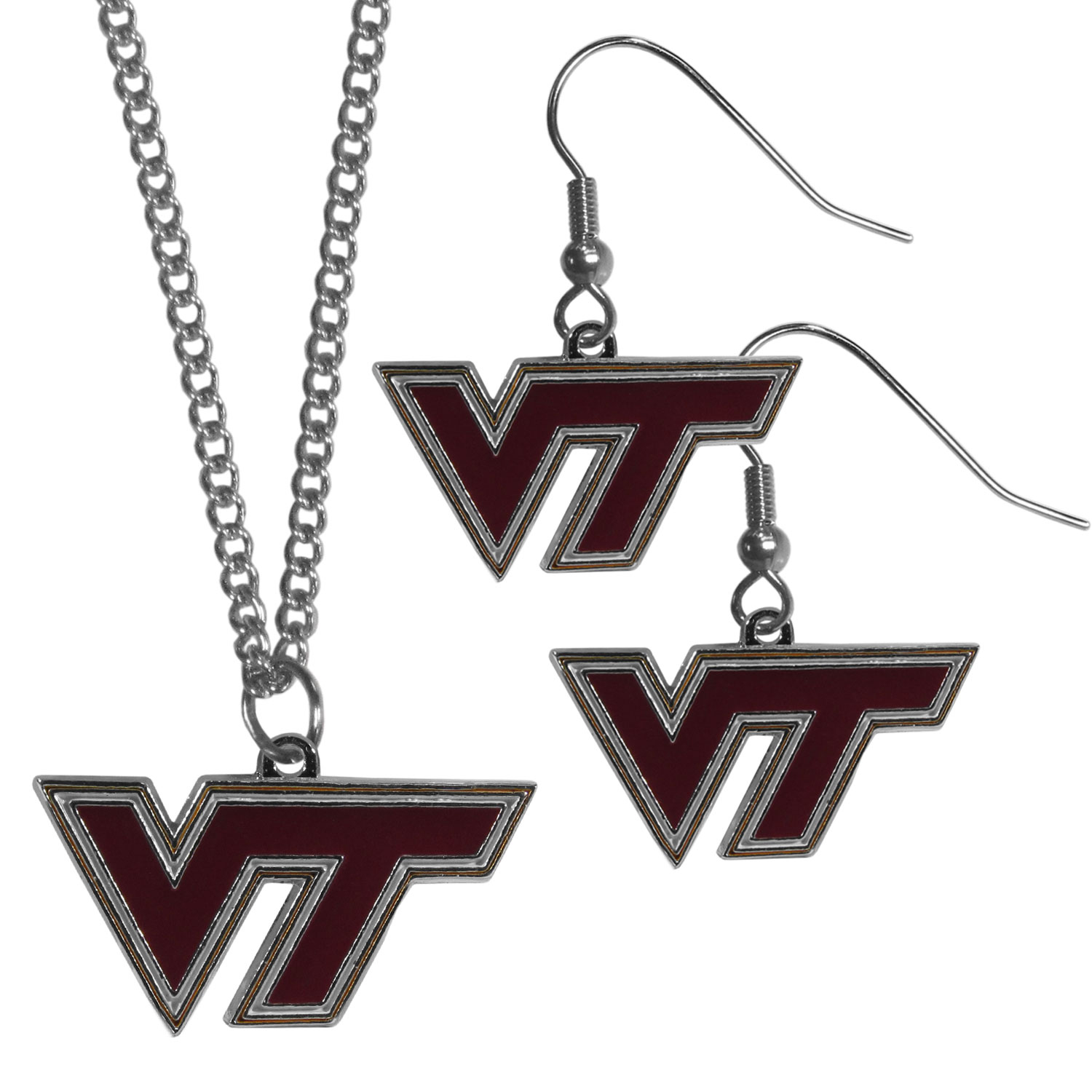 Virginia Tech Hokies Dangle Earrings and Chain Necklace Set - This classic jewelry set contains are most popular Virginia Tech Hokies dangle earrings and 22 inch chain necklace. The trendy, dangle earrings are lightweight and feature a fully cast metal team charm with enameled team colors. The matching necklace completes this fashion forward combo and is a spirited set that is perfect for game day but nice enough for everyday.