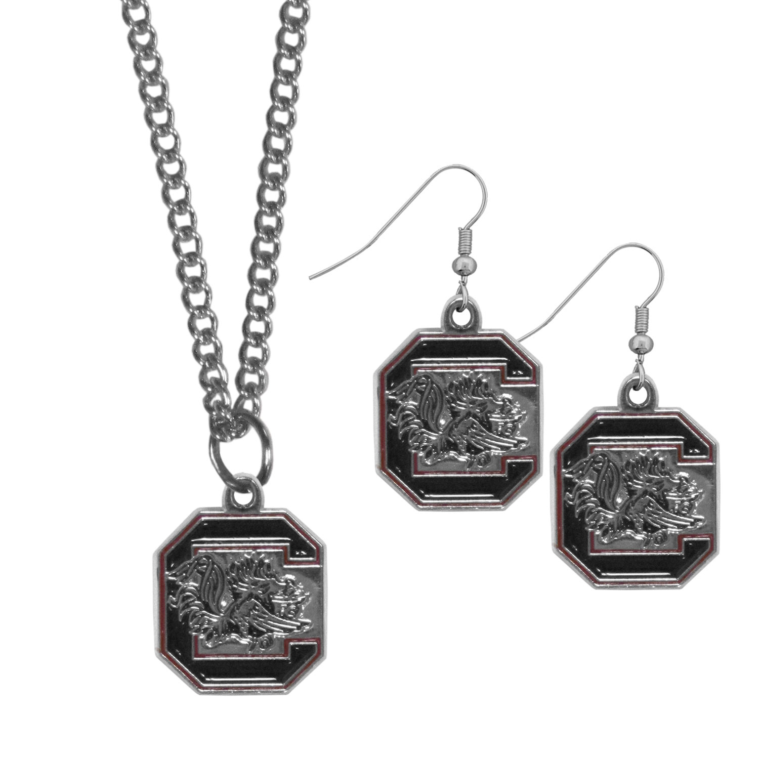 S. Carolina Gamecocks Dangle Earrings and Chain Necklace Set - This classic jewelry set contains are most popular S. Carolina Gamecocks dangle earrings and 22 inch chain necklace. The trendy, dangle earrings are lightweight and feature a fully cast metal team charm with enameled team colors. The matching necklace completes this fashion forward combo and is a spirited set that is perfect for game day but nice enough for everyday.