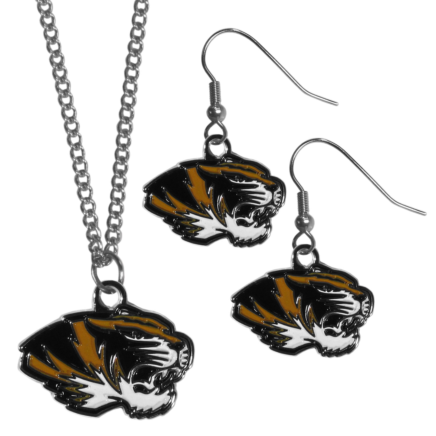 Missouri Tigers Dangle Earrings and Chain Necklace Set - This classic jewelry set contains are most popular Missouri Tigers dangle earrings and 22 inch chain necklace. The trendy, dangle earrings are lightweight and feature a fully cast metal team charm with enameled team colors. The matching necklace completes this fashion forward combo and is a spirited set that is perfect for game day but nice enough for everyday.