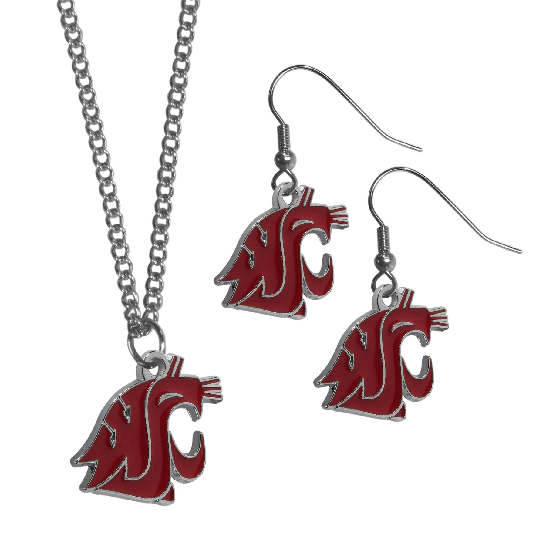 Washington St. Cougars Dangle Earrings and Chain Necklace Set - This classic jewelry set contains are most popular Washington St. Cougars dangle earrings and 22 inch chain necklace. The trendy, dangle earrings are lightweight and feature a fully cast metal team charm with enameled team colors. The matching necklace completes this fashion forward combo and is a spirited set that is perfect for game day but nice enough for everyday.