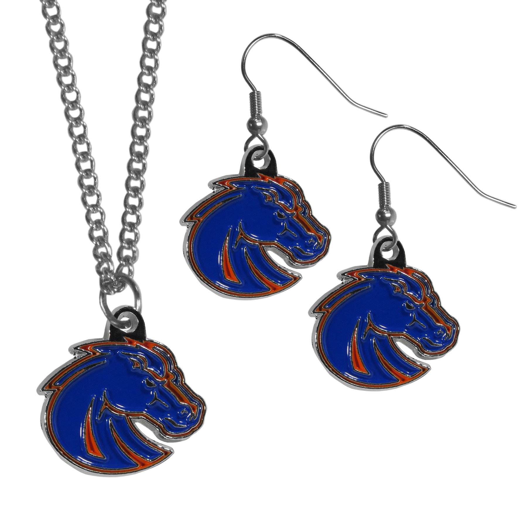 Boise St. Broncos Dangle Earrings and Chain Necklace Set - This classic jewelry set contains are most popular Boise St. Broncos dangle earrings and 22 inch chain necklace. The trendy, dangle earrings are lightweight and feature a fully cast metal team charm with enameled team colors. The matching necklace completes this fashion forward combo and is a spirited set that is perfect for game day but nice enough for everyday.