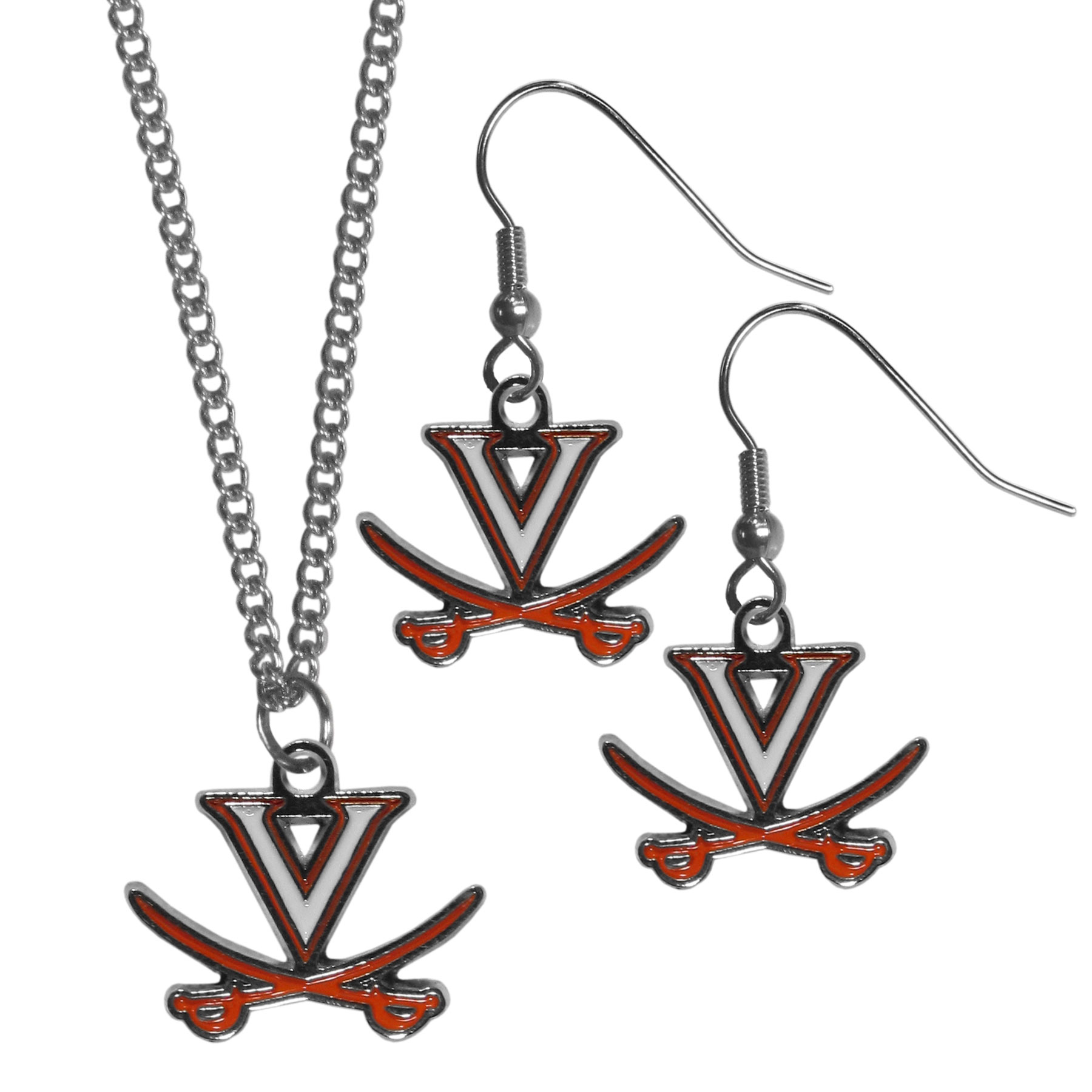 Virginia Cavaliers Dangle Earrings and Chain Necklace Set - This classic jewelry set contains are most popular Virginia Cavaliers dangle earrings and 22 inch chain necklace. The trendy, dangle earrings are lightweight and feature a fully cast metal team charm with enameled team colors. The matching necklace completes this fashion forward combo and is a spirited set that is perfect for game day but nice enough for everyday.