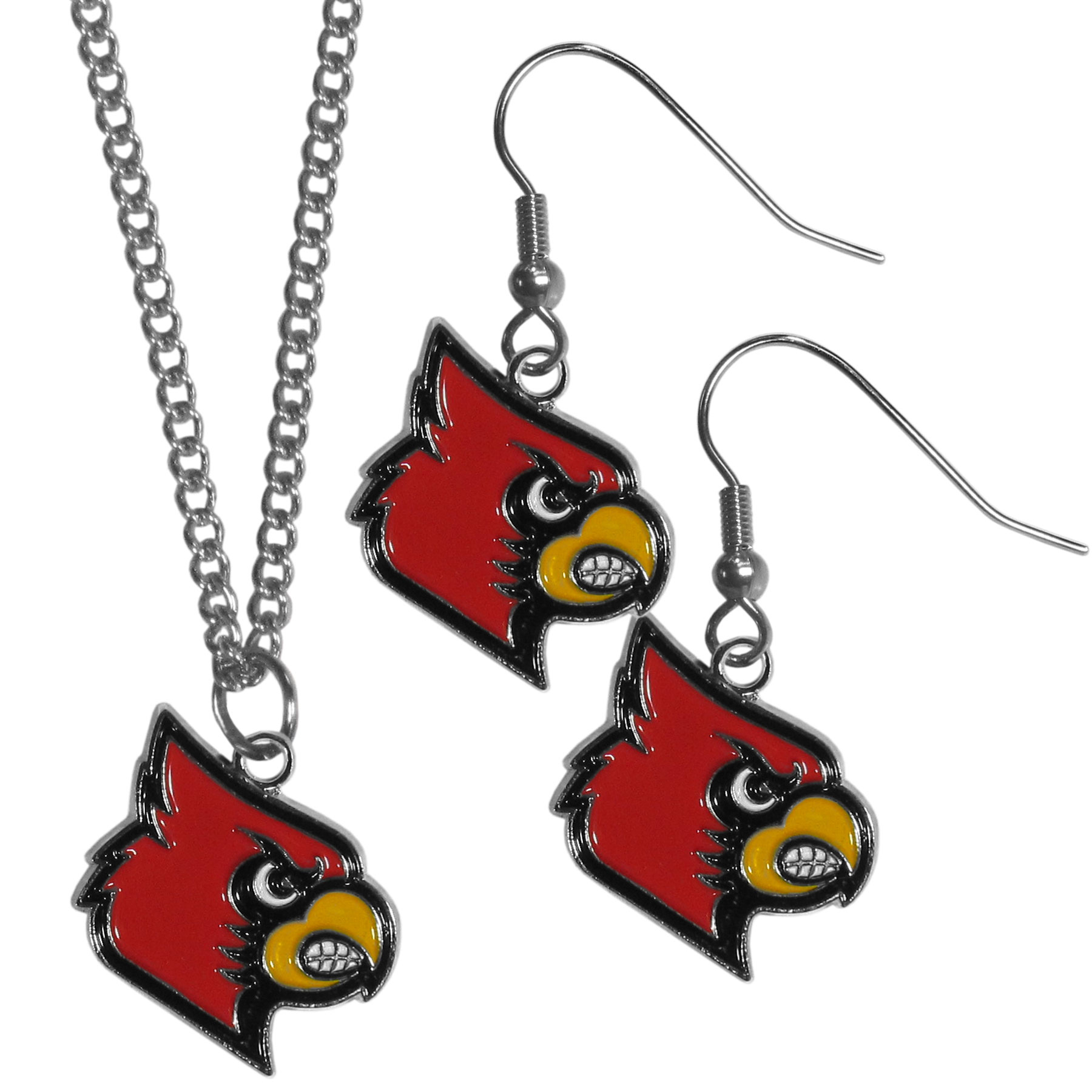 Louisville Cardinals Dangle Earrings and Chain Necklace Set - This classic jewelry set contains are most popular Louisville Cardinals dangle earrings and 22 inch chain necklace. The trendy, dangle earrings are lightweight and feature a fully cast metal team charm with enameled team colors. The matching necklace completes this fashion forward combo and is a spirited set that is perfect for game day but nice enough for everyday.
