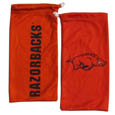Arkansas Razorbacks Microfiber Glasses Bag - Our officially licensed collegiate soft microfiber glasses bag  with the Arkansas Razorbacks logo on one side and the team name on the other. The microfiber bag protects your glasses from scratches and can be used as a cleaning cloth. Thank you for shopping with CrazedOutSports.com