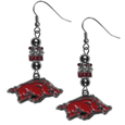 Arkansas Razorbacks Euro Bead Earrings - These beautiful Arkansas Razorbacks Euro Bead style earrings feature 3 euro beads and a detailed Arkansas Razorbacks charm on hypoallergenic fishhook posts.