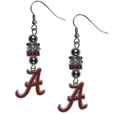 Alabama Crimson Tide Euro Bead Earrings - These beautiful euro style earrings feature 3 euro beads and a detailed Alabama Crimson Tide charm on hypoallergenic fishhook posts.