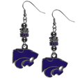 Kansas St. Wildcats Euro Bead Earrings - These beautiful Kansas St. Wildcats Euro Bead style earrings feature 3 euro beads and a detailed Kansas St. Wildcats charm on hypoallergenic fishhook posts.