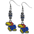 Kansas Jayhawks Euro Bead Earrings - These beautiful Kansas Jayhawks Euro Bead style earrings feature 3 euro beads and a detailed Kansas Jayhawks charm on hypoallergenic fishhook posts.