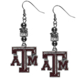 Texas A and M Aggies Euro Bead Earrings - These beautiful euro style earrings feature 3 euro beads and a detailed Texas A & M Aggies charm on hypoallergenic fishhook posts.
