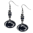 Penn St. Nittany Lions Euro Bead Earrings - These beautiful euro style earrings feature 3 euro beads and a detailed Penn St. Nittany Lions charm on hypoallergenic fishhook posts.