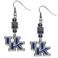 Kentucky Wildcats Euro Bead Earrings - These beautiful euro style earrings feature 3 euro beads and a detailed Kentucky Wildcats charm on hypoallergenic fishhook posts.