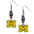 Michigan Wolverines Euro Bead Earrings - These beautiful euro style Michigan Wolverines Euro Bead Earrings feature 3 euro beads and a detailed Michigan Wolverines charm on hypoallergenic fishhook posts.