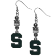 Michigan St. Spartans Euro Bead Earrings - These beautiful euro style Michigan St. Spartans Euro Bead Earrings features 3 euro beads and a detailed Michigan St. Spartans charm on hypoallergenic fishhook posts.